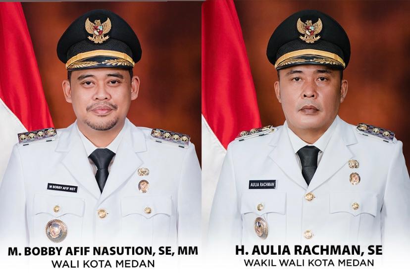 Walikota dan Wakil Walikota Medan, M. Bobby Afif Nasution, SE. MM, dan H. Aulia Rachman, SE.